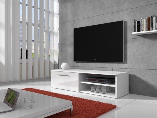 Meubella tv meubel bash wit hoogglans 120 cm for Hoogglans wit tv meubel