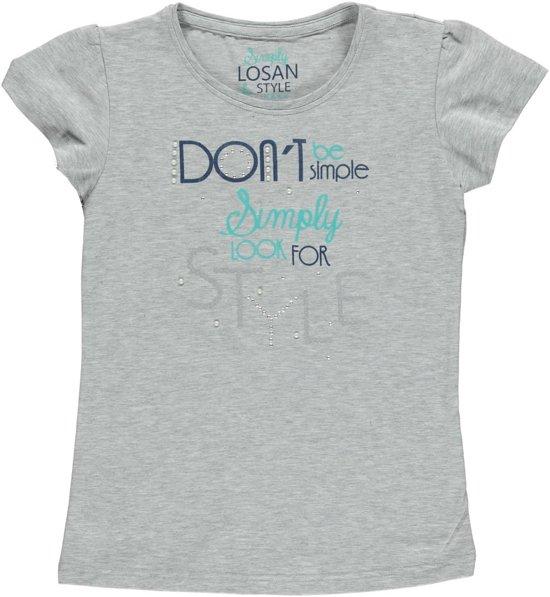 Losan Meisjes Shirt grijs met print en studs - T1 - Maat 128