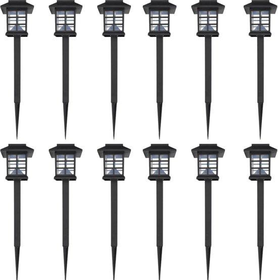 vidaXL Solar LED tuinverlichting Lantaarn 8,6 x 38 cm (12 stuks)