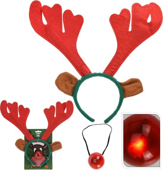 Rendier gewei met lichtgevende neus - 1 stuk - kerstmis