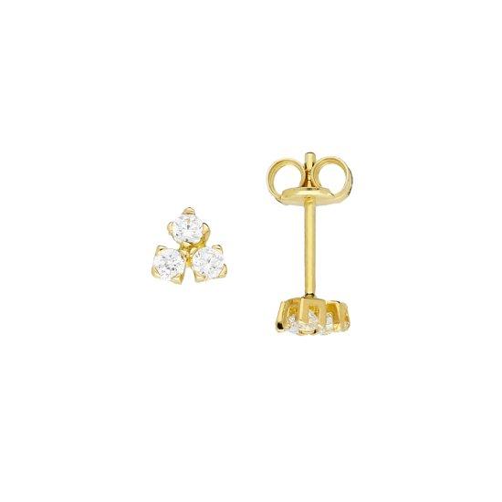 Gouden oorknoppen - goud - zirkonia - driehoek - 4.3 mm x 4.6 mm