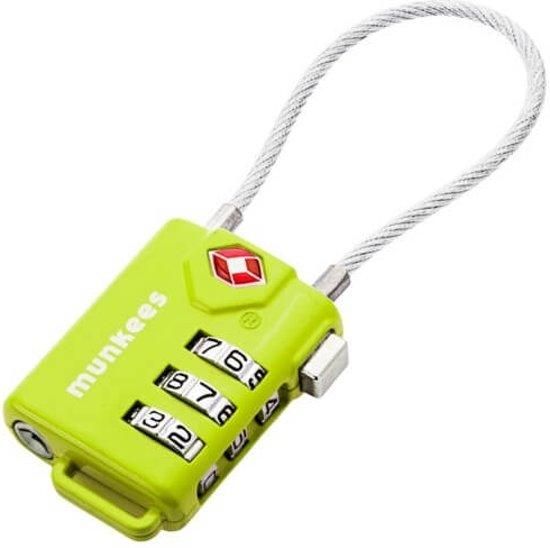 Munkees kofferslot TSA kabel combinatieslot - Groen