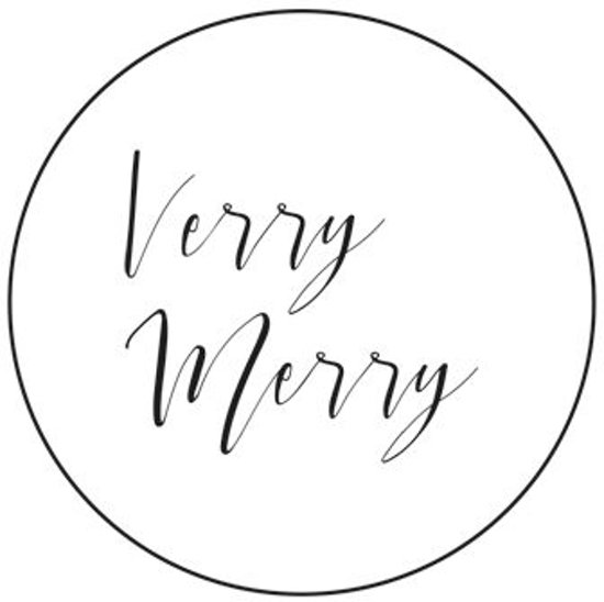 Villa Madelief Verry Merry kerst sticker wit