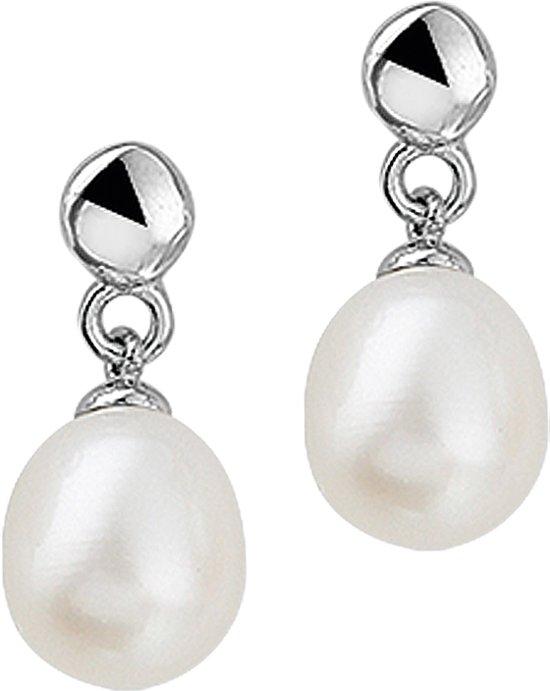 The Jewelry Collection Oorhangers Parel - Zilver Gerhodineerd