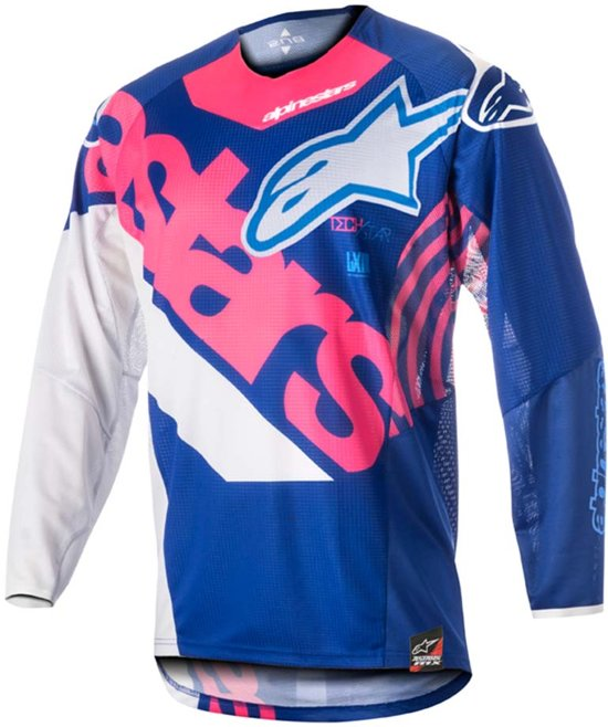 Alpinestars Crossshirt Techstar Venom Blue/Fluor Pink/White-XL