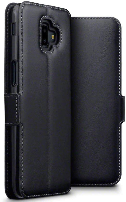 Hoesje voor Samsung Galaxy J6 Plus, MobyDefend slim-fit echt leren bookcase, Zwart