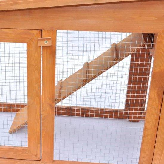 vidaXL Groot Konijnenhok voor buiten - 190 x 46 x 85 cm - Bruin