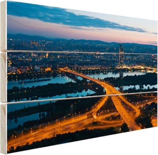 Wenen bij nacht Hout 60x40 cm - Foto print op Hout (Wanddecoratie)