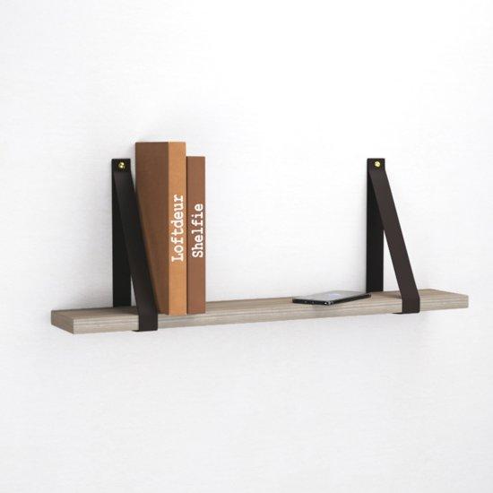 Boekenplank Zonder Steunen.Bol Com Zwarte Leren Wandplank Dragers Exclusief Plank