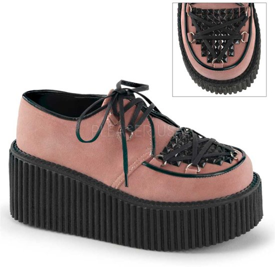 Suede Creeper Studs 9Demonia With Laces Pinkeu And 216 39Us 0nPwkO8