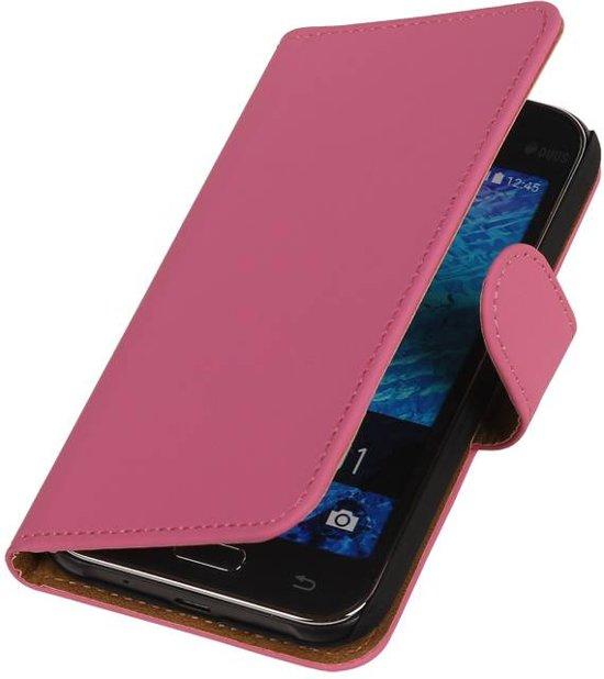 Samsung galaxy j1 2015 J100F Roze   bookstyle / book case/ wallet case Hoes    WN™