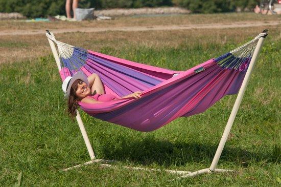 Hangmatset: 1-persoons hangmat  ORQUIDEA purple + Standaard voor 1-persoons hangmat  CANOA