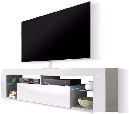 Tv Wandmeubel Wit.Tv Meubel Tv Kast Hugo Incl Led Body Wit Mat Front Hoogglans Wit