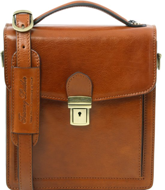 76f8bb15715 Tuscany Leather Heren Lederen crossbody tas - David - klein formaat -  Honingkleurig - TL141425