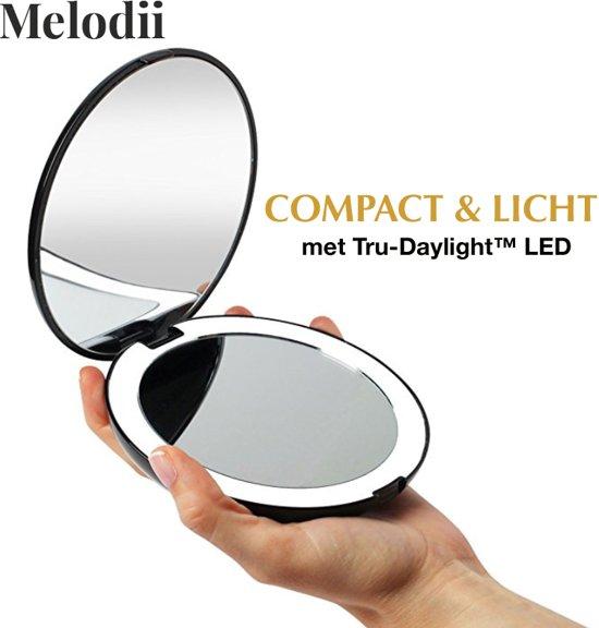 Melodii™ - Compact Make-up Spiegel met Tru-Daylight verlichting   1X - 7X Vergroting   Cosmeticaspiegel met helder LED verlichting   Inclusief batterijen