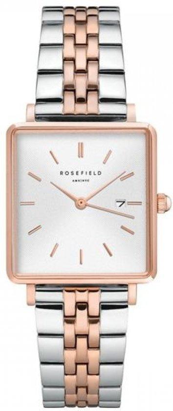 Rosefield The Boxy Dames Horloge - Zilver + Rosé Goud Ø26mm - QVSRD-Q014