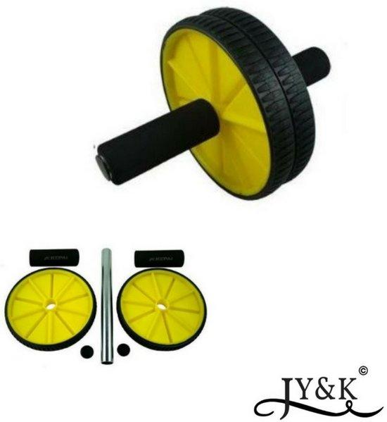 Fitness wiel geel/zwart | 18cm | ab wiel | wheel | roller |