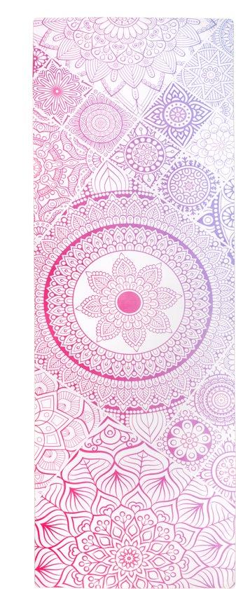 Easy In Shape - Luxe Yoga / Fitness mat van 100% natuurlijk rubber en Micro suède - Antislip - 173 x 63 x 0.4 cm - Fading Mandala