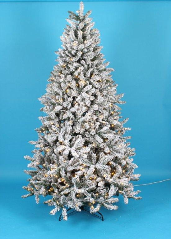 kunstkerstboom sneeuw boom deluxe lengte 180 cm 350 warm led lampjes 1068 takken