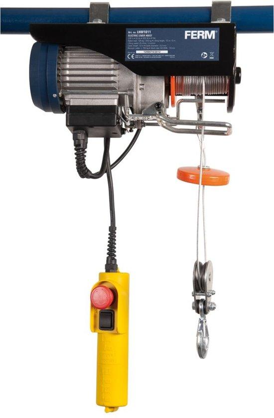 FERM  Elektrische kabeltakel  non-twisting staalkabel, noodstopfunctie - incl. 2 beugels en laadhaken