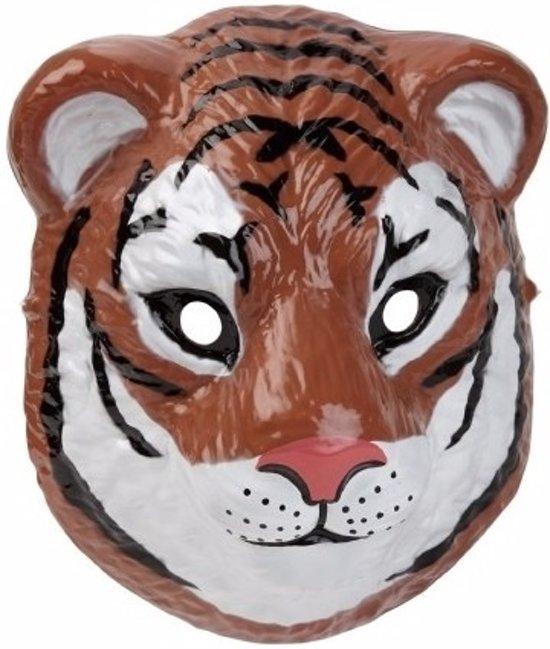 Tijger masker 3D plastic 22cm - dieren gezichtsmasker