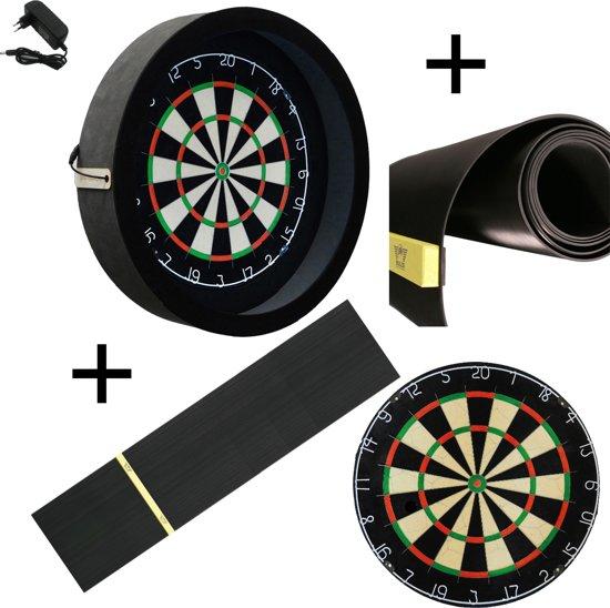 Dragon - Sorpresa PRO - Complete PRO - zwart-rubber - best geteste - dartbord - dartmat rubber 300*60 incl. Oche - dartbord verlichting