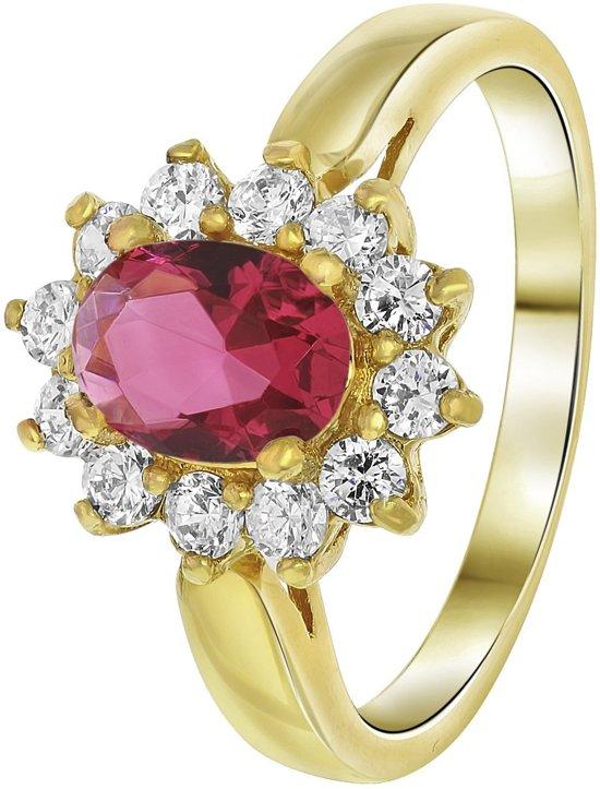 Lucardi - Nouveau Vintage - Goldplated ring fuchsia met zirkonia