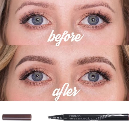 Tattoo Brow Ink Pen 4 Tips Tatoeage Wenkbrauwen Inkt Pen N1 Kleur Blonde