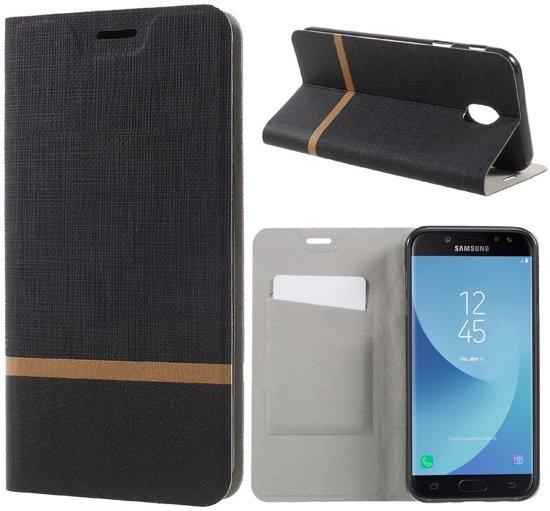 Knaldeals.com - Samsung Galaxy J7 (2017) cover - Book Wallet Case - gestreept zwart in Vergnies