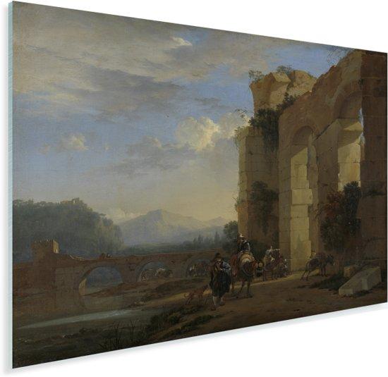 Ezeldrijvers bij een Italiaanse ruïne - Schilderij van Jan Asselijn Plexiglas 160x120 cm - Foto print op Glas (Plexiglas wanddecoratie) XXL / Groot formaat!