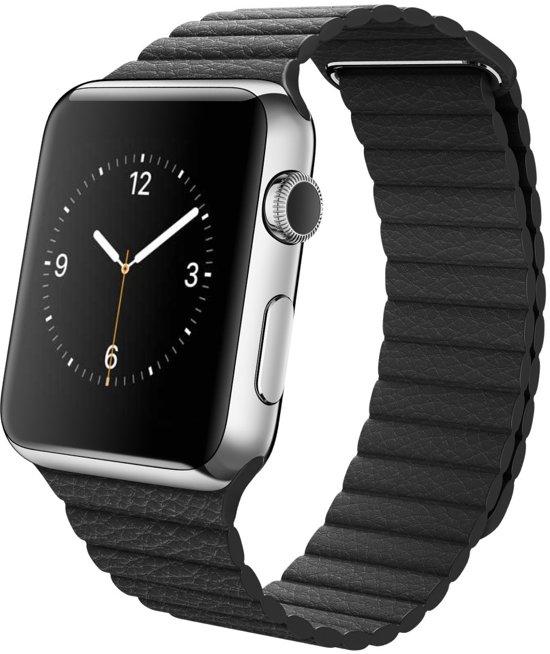 Leren Bandje met Magneetsluiting voor Apple Watch - Zwart - 42mm
