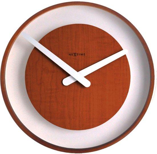 NeXtime Wood Loop - Klok - Rond - Glas - Ø30 cm - Hout - Donker bruin