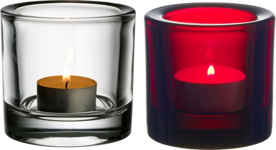 Iittala Kivi Sfeerlicht - 6 cm - Helder/Cranberry - 2 stuks