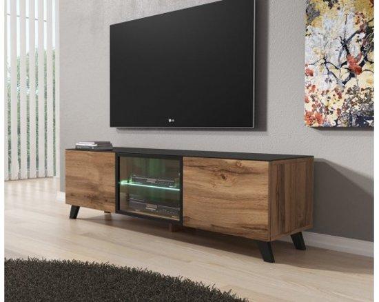 Tv Meubel Met Glazen Deuren.Meubella Tv Meubel Triptis Eiken Zwart 150 Cm