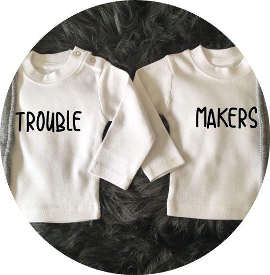 Tweeling Shirts Trouble Makers Setje Van 2 Shirtjes