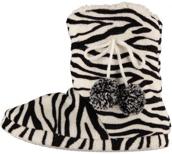 Hoge dames sloffen met zebra print zwart/wit 37-38