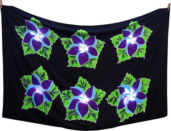 00fa6fcab0de80 Zwarte Sarong Paarse Bloemen