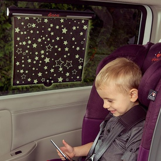 Diono - Starry Night - Oprolbaar auto zonnescherm voor de zijruit - Glow in the dark