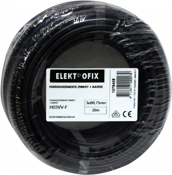 20 meter Elektrofix huishoudsnoer met aarde zwart, 3 x 0.75mm