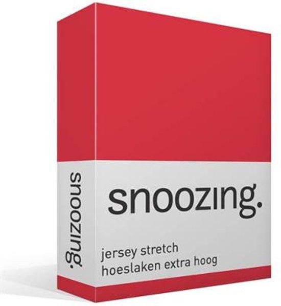 Snoozing Jersey Stretch - Hoeslaken - Extra Hoog - Eenpersoons - 90/100x200/220 cm - Rood