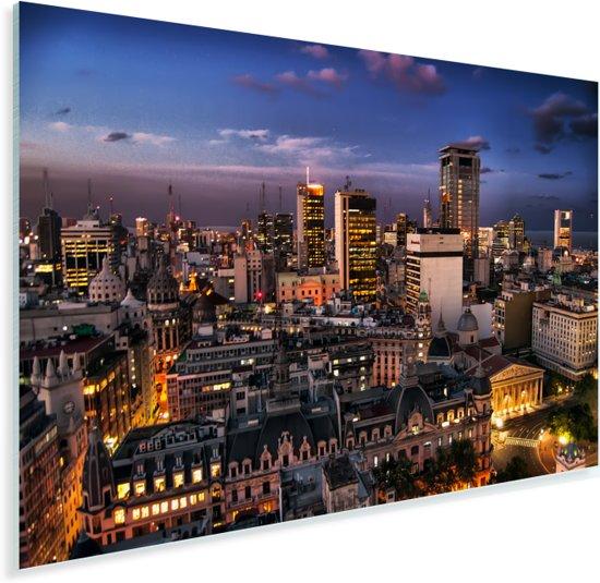 Buenos Aires verlicht tijdens een schemering in Argentinië Plexiglas 60x40 cm - Foto print op Glas (Plexiglas wanddecoratie)