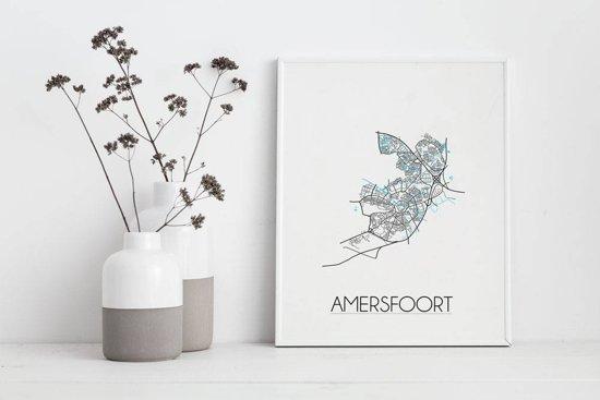 Plattegrond Amersfoort Stadskaart poster DesignClaud - Wit - A4 + fotolijst zwart