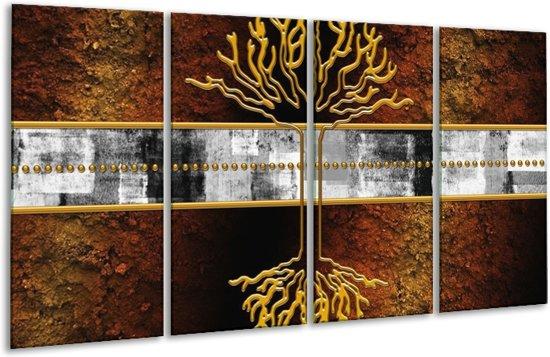 Glasschilderij Modern   Bruin, Grijs, Geel   160x80cm 4Luik   Foto print op Glas    F004862