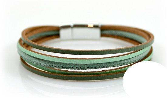 Petra's Sieradenwereld - Leren armband groen met magneetsluiting (734)