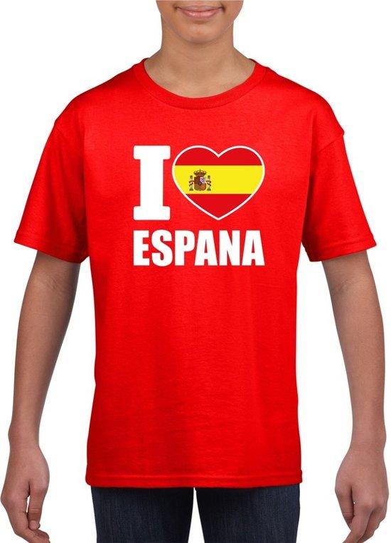 Rood I love Espana supporter shirt kinderen - Spanje shirt jongens en meisjes M (134-140)