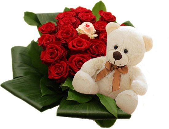 20 rode rozen met liefde roos en knuffelbeer ( 20 cm)