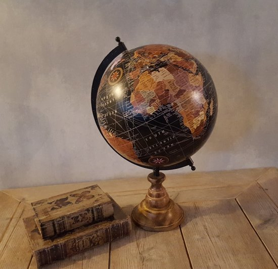 Spiksplinternieuw bol.com | Wereldbol antieke look Op Voet 44 cm Zwart PH-42