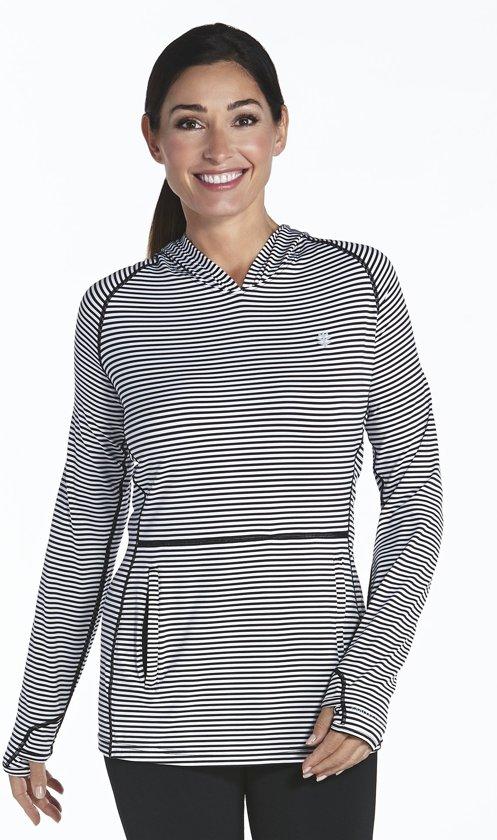 Coolibar UV hoodie Dames - Zwart/Wit - Maat 40
