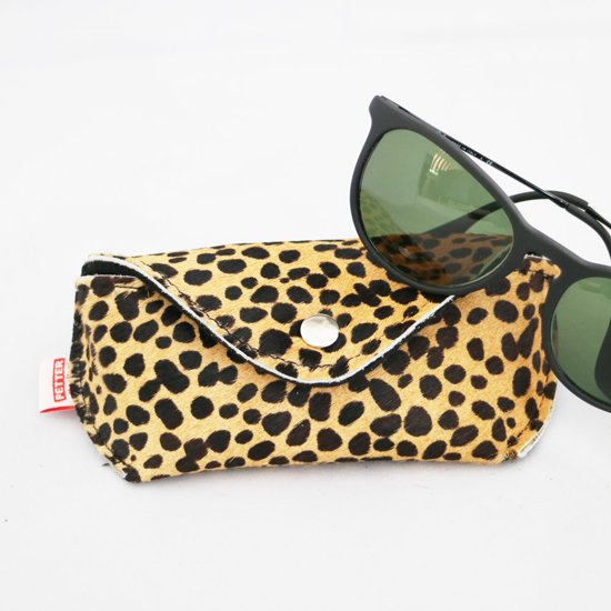 "Leren brillenkoker ""Aukje"" cheetah beige - brillenetui - brillenhoesje"