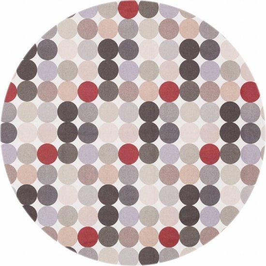 MixMamas Tafelzeil Rond - Ø 140 cm - Grote Stip - Beige/Crème/Grijs/Rood